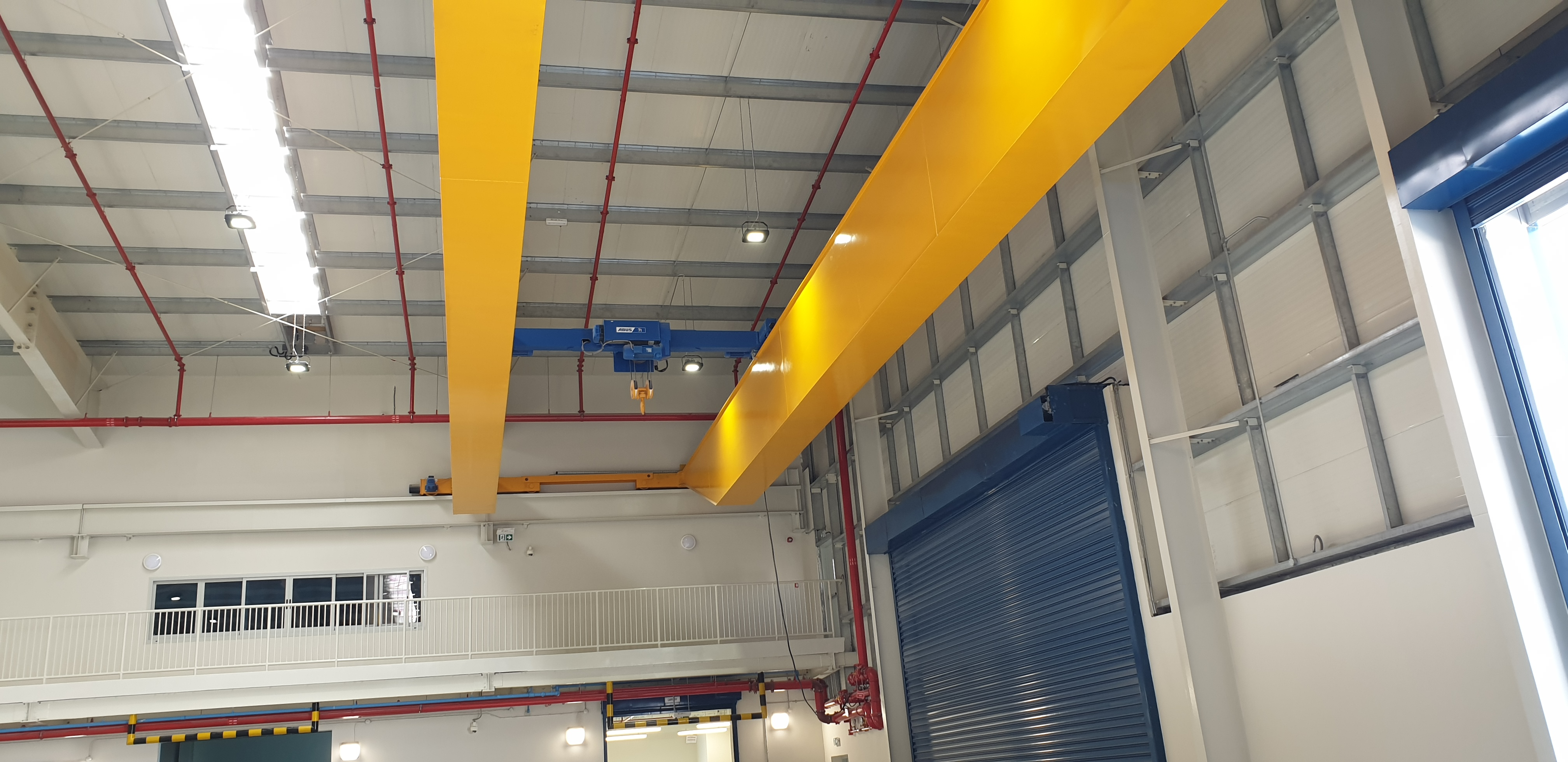 LOW HEADROOM 7 TON CAPACITY DOUBLE GIRDER CRANE WITH 37 METERS SPAN FOR A PLASTIC PIPE COMPANY